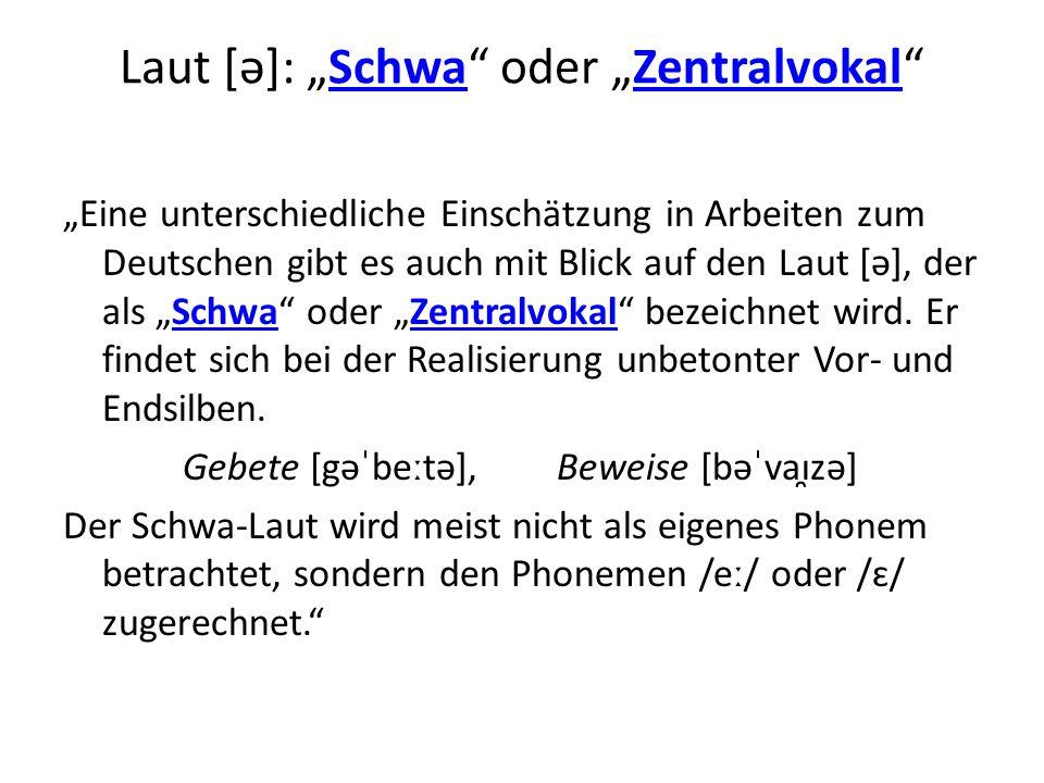 """Laut [ə]: """"Schwa oder """"Zentralvokal"""